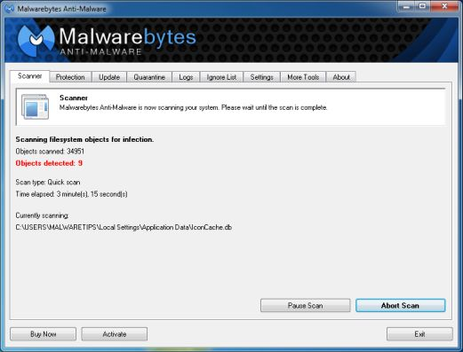 [Image: Malwarebytes Anti-Malware scanning for Gadgetbox Search virus
