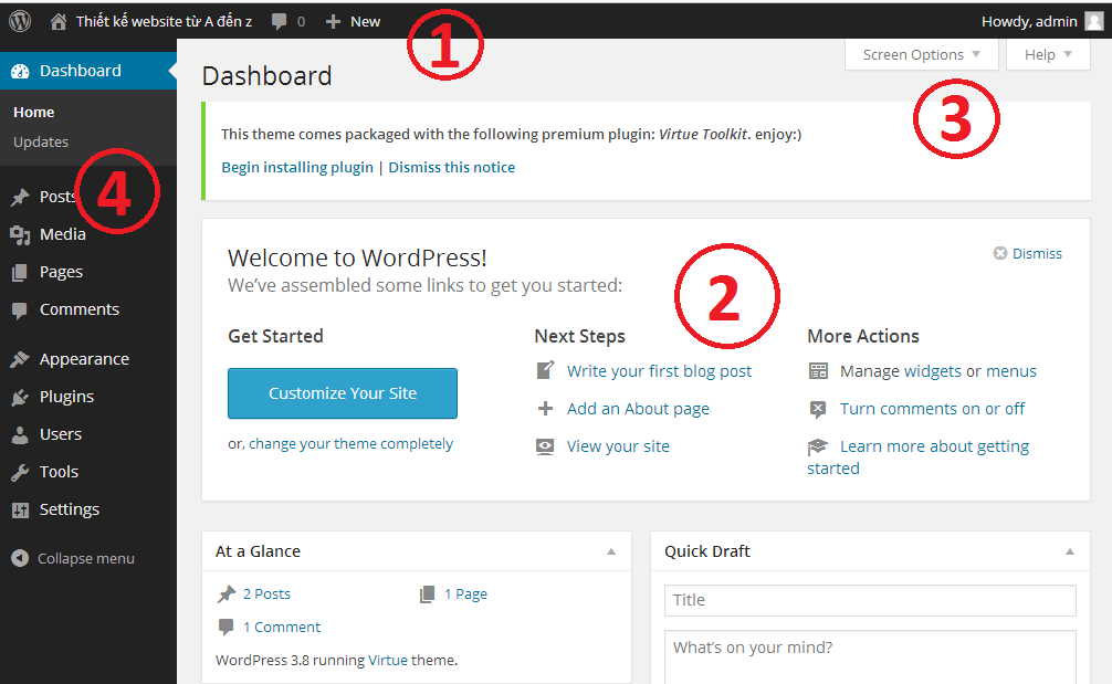 wp admin wordpress