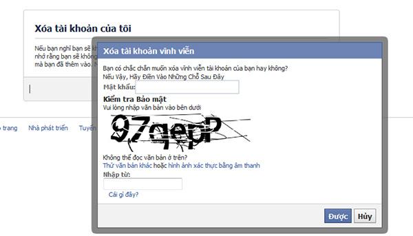Cách xóa bỏ tài khoản Facebook vĩnh viễn