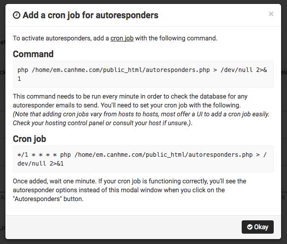 Cron job autoresponders