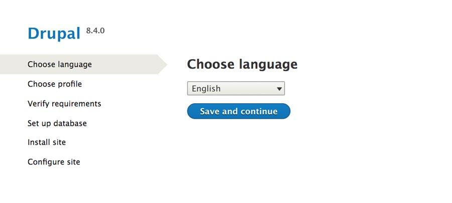 chọn ngôn ngữ cài đặt drupal 8