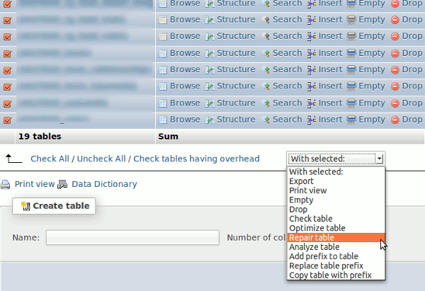corrupted db phpmyadmin repair table