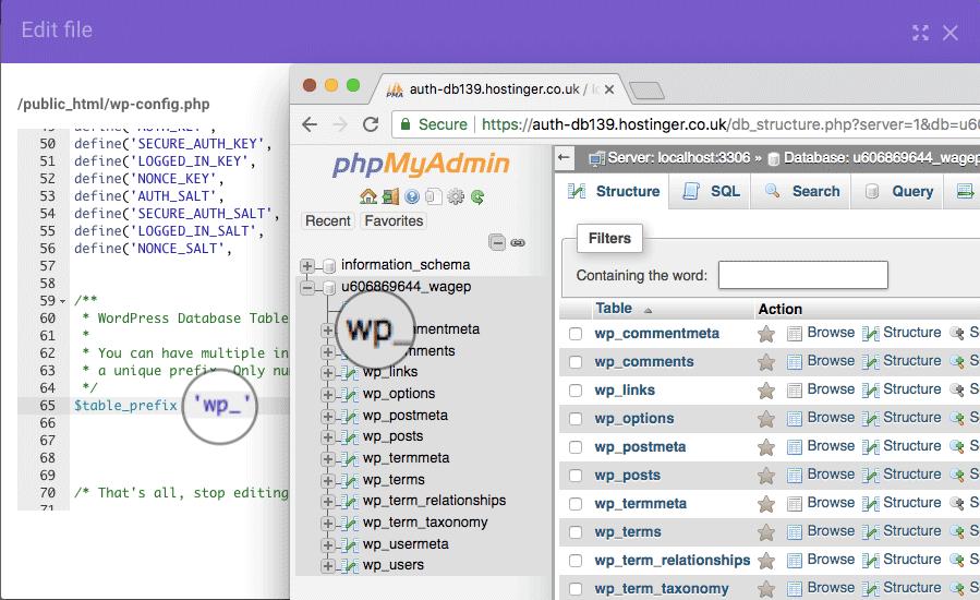 fix error establishing a database connection bang table prefix
