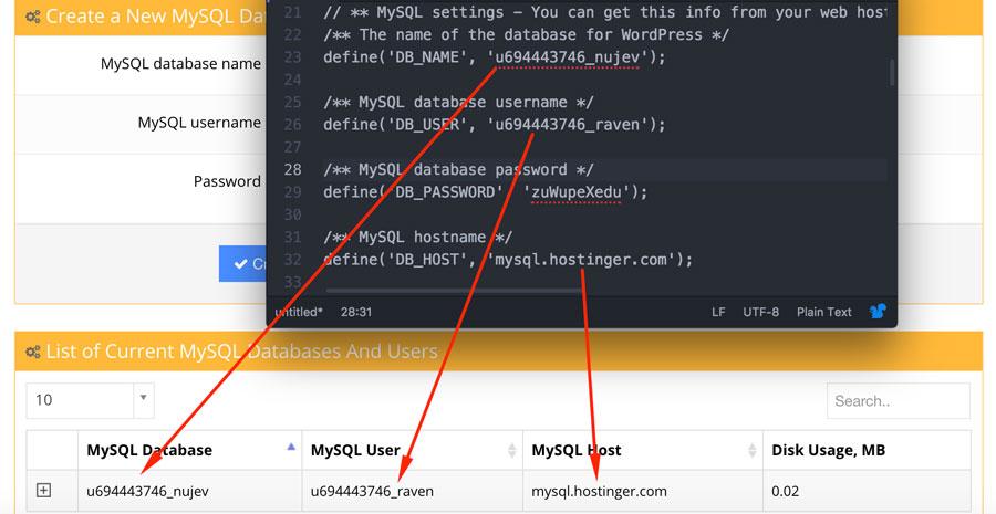 kiem tra thong tin dang nhap mysql database trong wp config