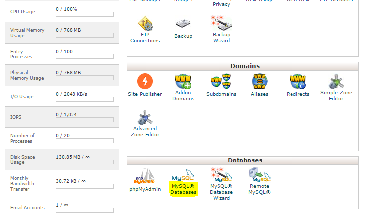 cPanel MySQL Databases đặt trong phần Databases .