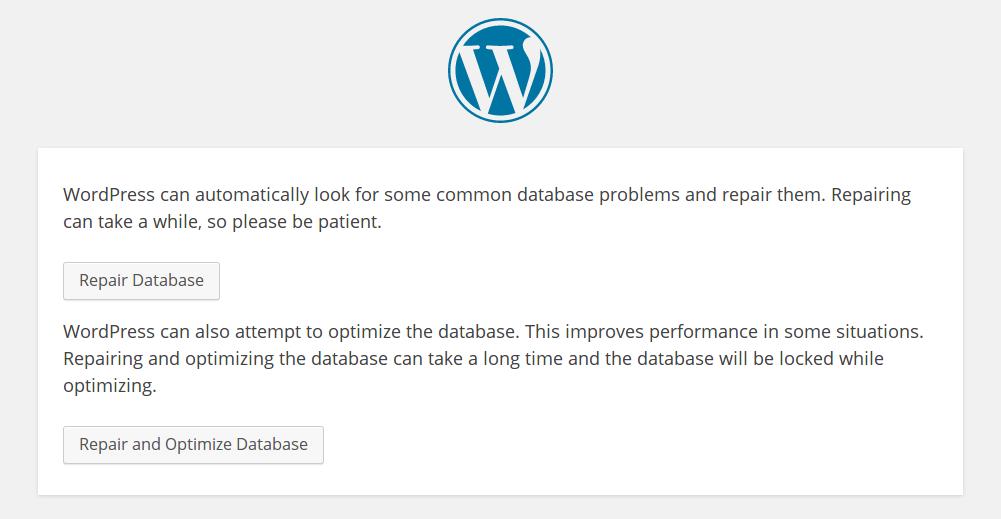 Chọn bất kỳ lựa chọn nào để thực hiện database repair.