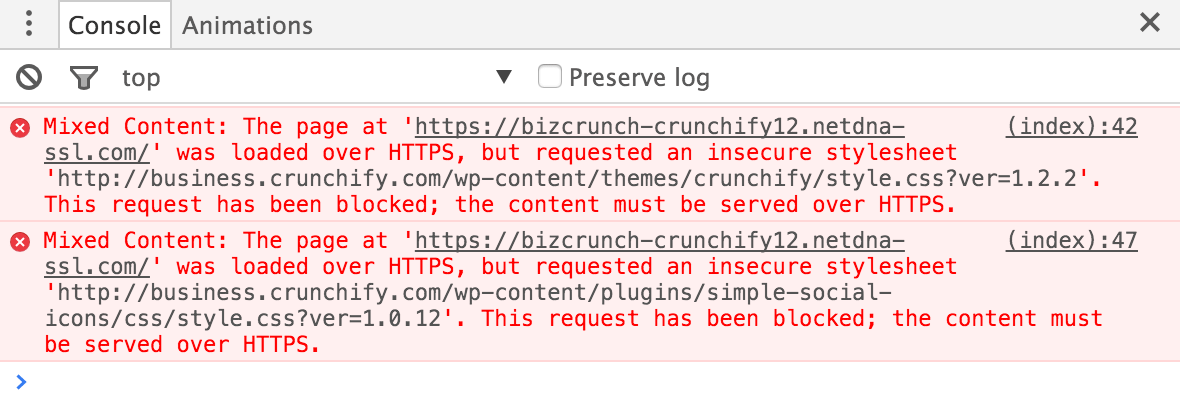 Mixed Content CORS origin error for Crunchify.com site