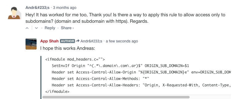 access control allow origin on subdomains