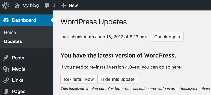 kiểm tra phiên bản WordPress
