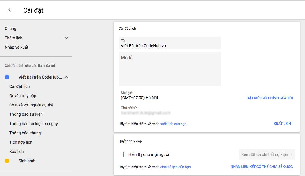 Cài Đặt Lịch Google