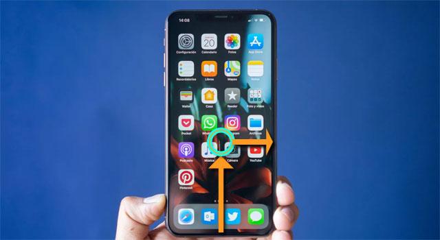 Thao tác mở menu đa nhiệm iPhone Xs