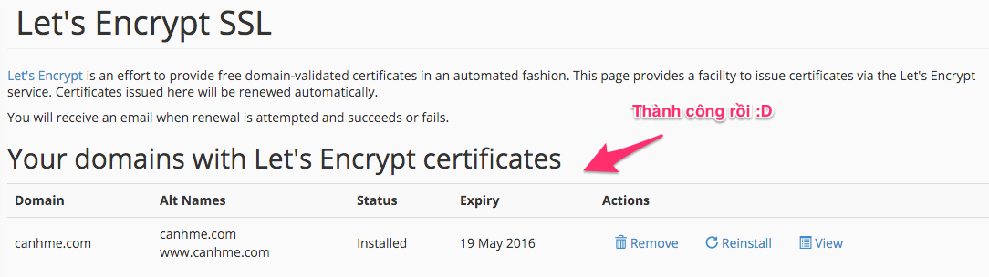 Kich hoat Lets Encrypt thanh cong