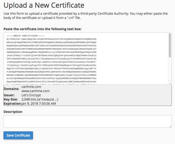 Upload a New Certificate 610x502