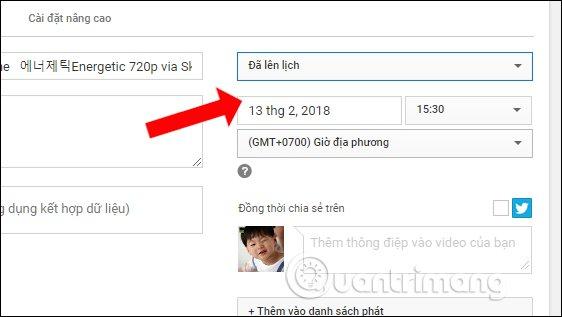 Lên lịch tải video lên Youtube